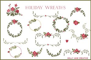 Holiday Wreaths with Red Flowers