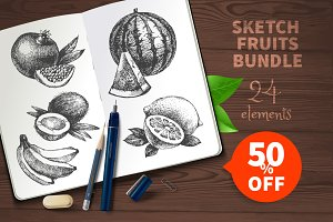 Sketch Fruits Bundle Sale 50%