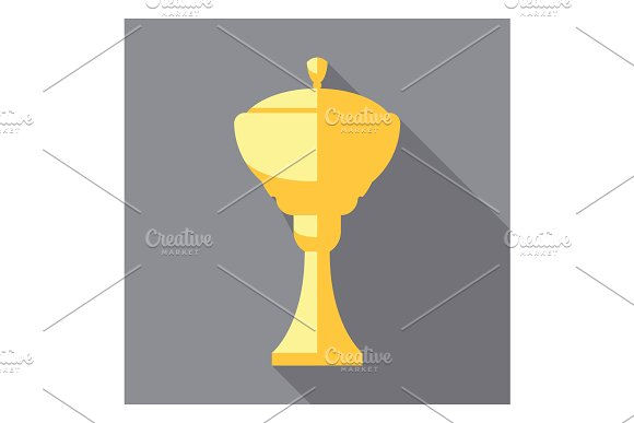 Vector Winner Cup Trophy Flat Icon