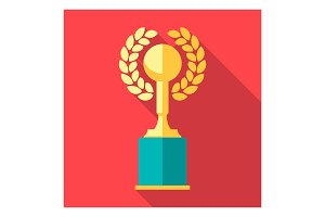 Vector winner cup. Trophy flat icon