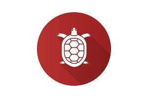 Tortoise flat design long shadow glyph icon