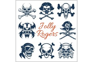 Jolly Roger symbols - vector set on white background. . Pirates skulls and Captain skeleton in bandana or tricorne hat with patch on eye.