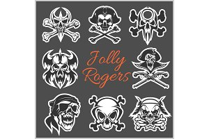 Jolly Roger symbols - vector set on dark background. Pirates skulls and Captain skeleton in bandana or tricorne hat with patch on eye.