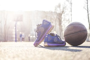 close up modern basketball shoes and