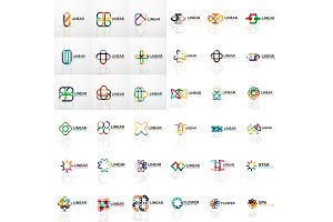 Logo Mega Collection, abstract symmetric geometric business icon set