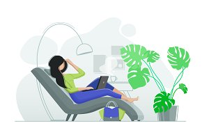 Girl resting in chair with laptop