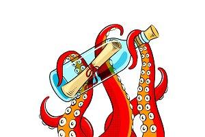 Octopus and message in bottle pop art vector