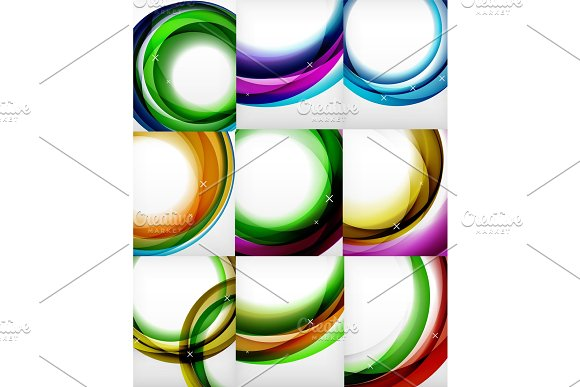 Vector set of round circle abstract backgrounds