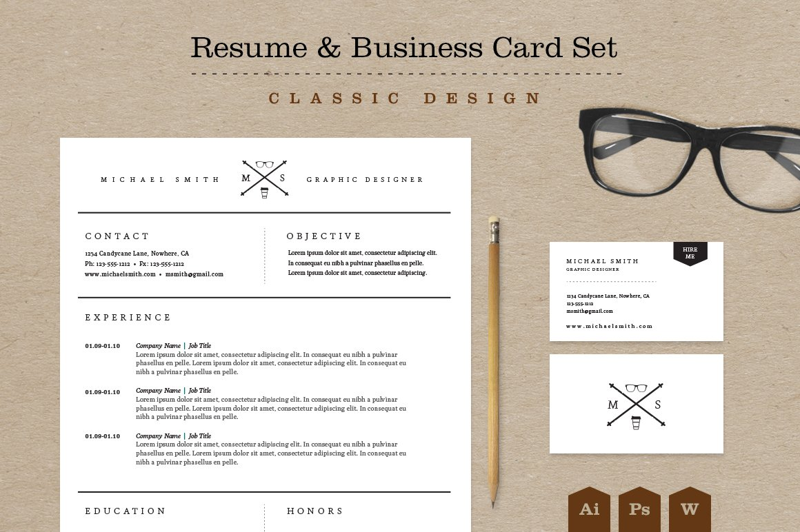 classic resume business card set resume templates creative market