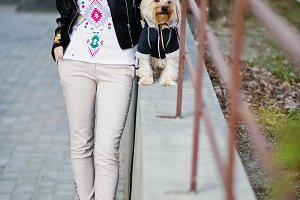 girl with yorkshire terrier dog