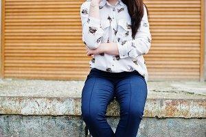 stylish teenage brunette girl