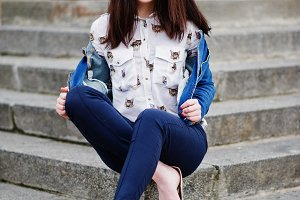 stylish teenage brunette girl