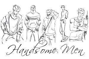 Set of logo with men. Hand drawing