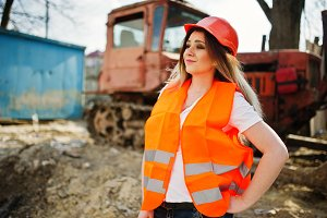 Engineer builder woman in uniform