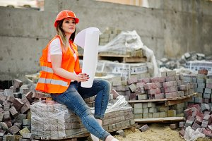 Engineer builder woman in uniform