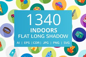 1340 Indoors Flat Long Shadow Icons