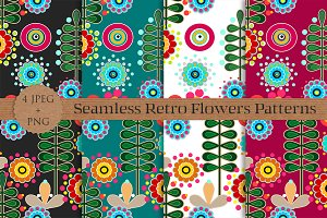 RETRO flowers seamless patterns set