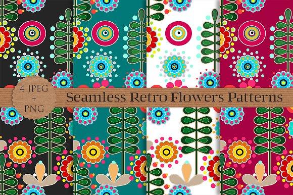 RETRO Flowers Seamless Patterns Set