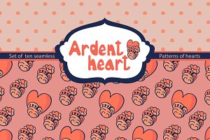 "Set of seamless ""Ardent heart"""