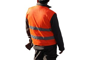 road construction worker isolated over white