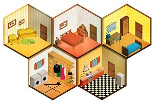 Vector isometric rooms icon.