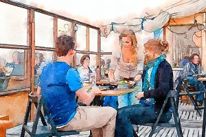people by beach terrace cafe