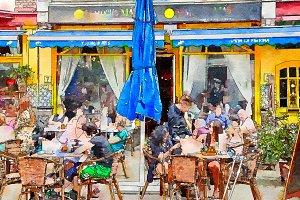 people on street cafe