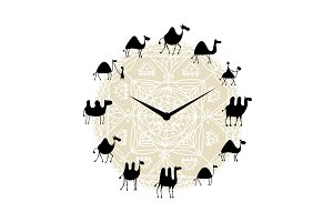 Clock with camels silhouette design