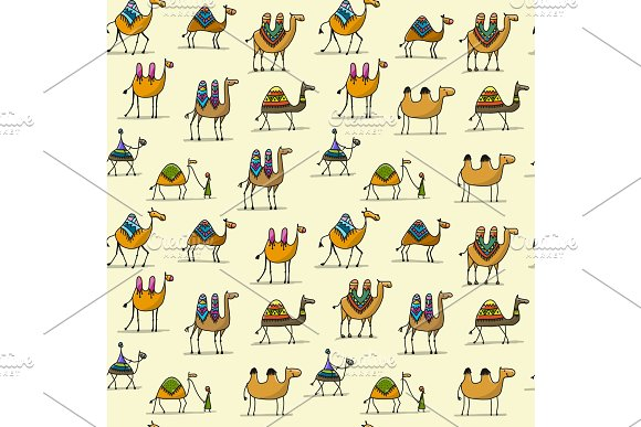 Camels Caravan Seamless Pattern For Your Design