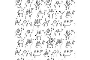 Camels caravan, seamless pattern for your design