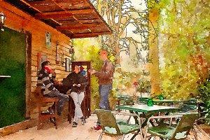 people in garden cafe