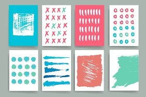 Vector set of ink brush strokes.