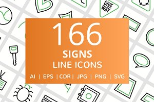 166 Sign Line Icons