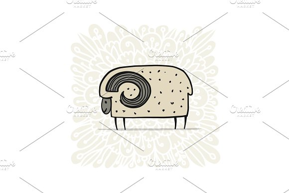 Cute Ram Simple Sketch For Your Design