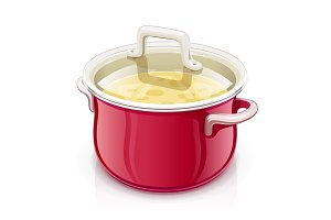 Red saucepan with lid. Kitchen