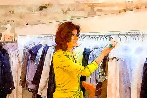 woman in city shop