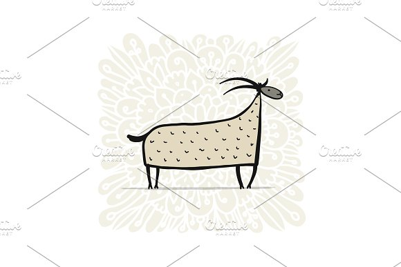 Funny Goat Simple Sketch For Your Design