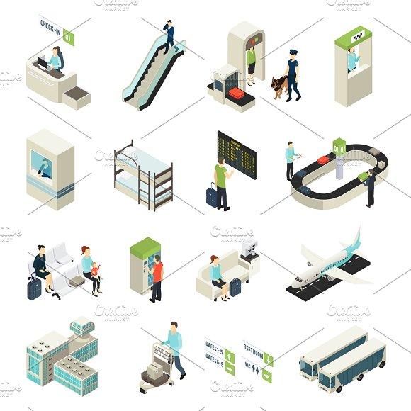 Isometric Airport Elements Set