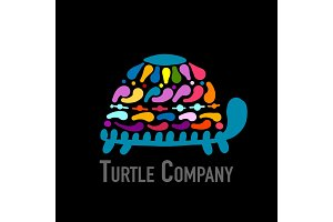 Turtle colorful logo, black silhouette for your design