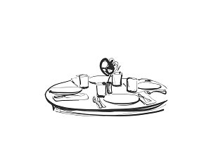 Dining table with glasses of wine and flower, Hand Drawn Sketch