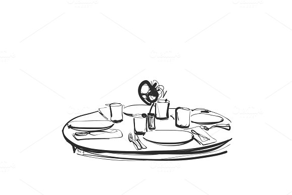 Dining Table With Glasses Of Wine And Flower Hand Drawn Sketch