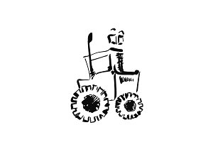 Tractor sketch. Hand drawn agrimotor. Cartoon