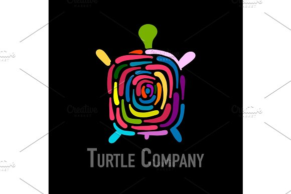 Turtle Colorful Logo Black Silhouette For Your Design
