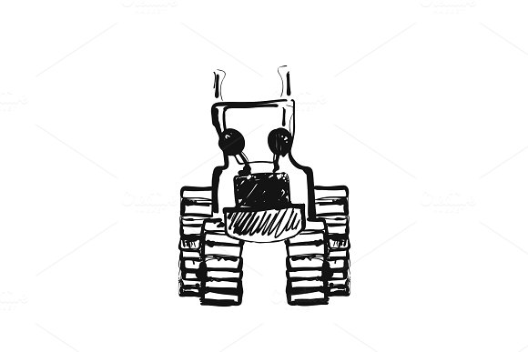 Tractor Sketch Hand Drawn Agrimotor Cartoon