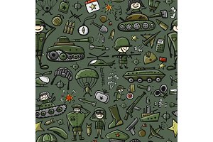Military sketch, seamless pattern for your design