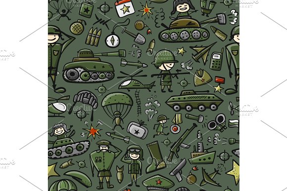 Military Sketch Seamless Pattern For Your Design