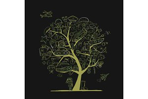 Military tree, sketch for your design. Gift card for men. Vector illustration