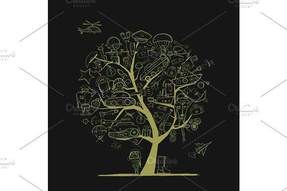 Military Tree Sketch For Your Design Gift Card For Men Vector Illustration