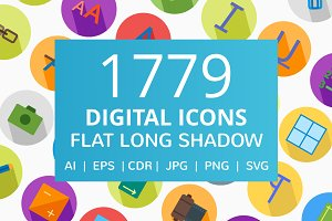 1779 Digital Flat Long Shadow Icons