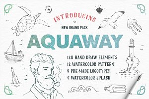 AquaWay — watercolored vector pack